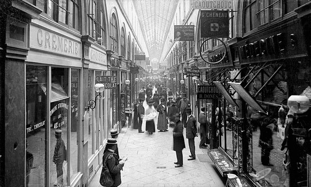 Le Passage Choiseul shopping arcade in Paris, circa1900.