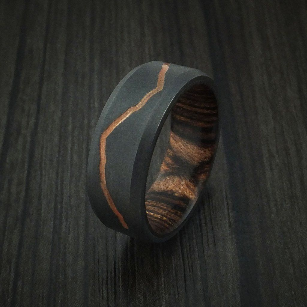 Black Zirconium Ring with Custom Mountain Milling and