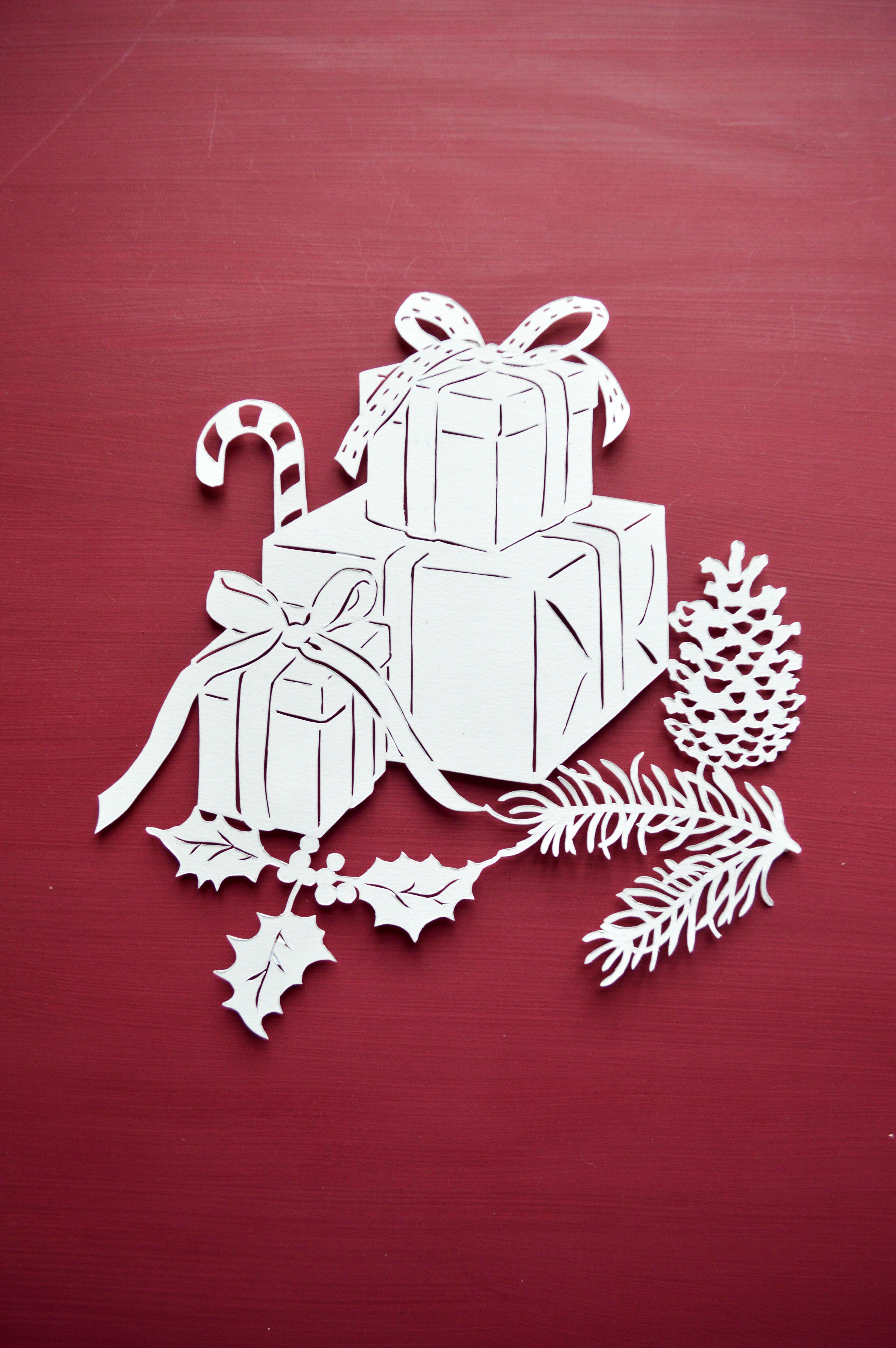 christmas presents papercut template paper cut out art hobby