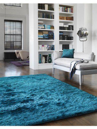 benuta Teppiche: Shaggy Langflor Hochflor Teppich Whisper L�ufer T�rkis 80x300 cm - schadstofffrei - 100% Polyester - Uni - Handgetufted - Wohnzimmer