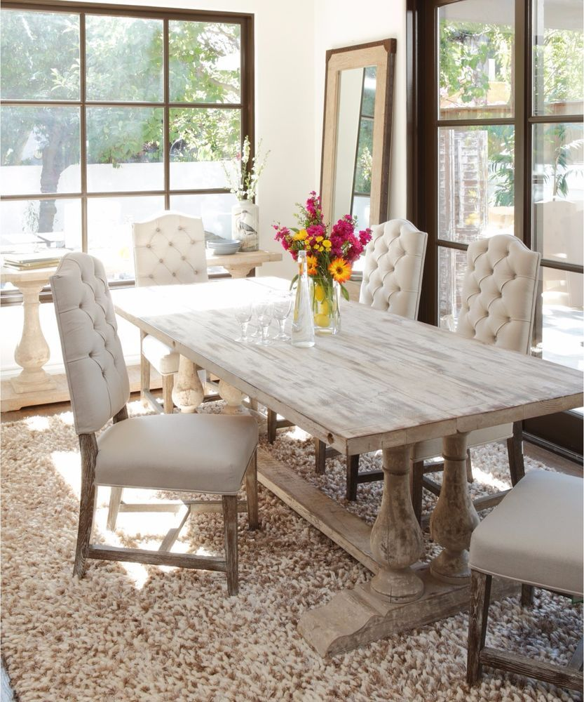 Traditional Dining Table Large Unique Trestle White Rustic Accent