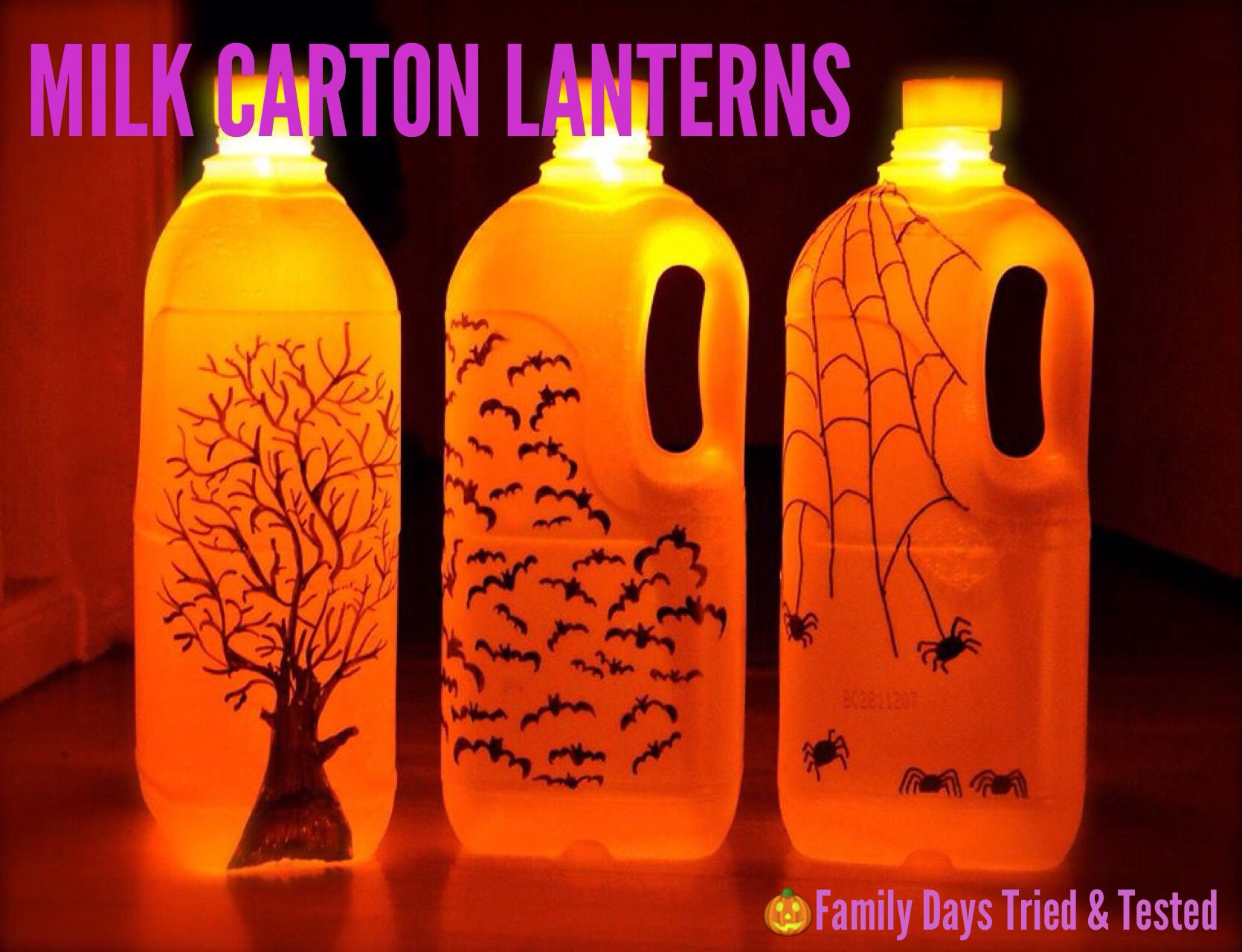 Decorate Milk Cartons With Sharpie Marker Pens And Place A Battery Operated Candle On The Top Milk Carton Crafts Milk Bottle Craft Halloween Bottles