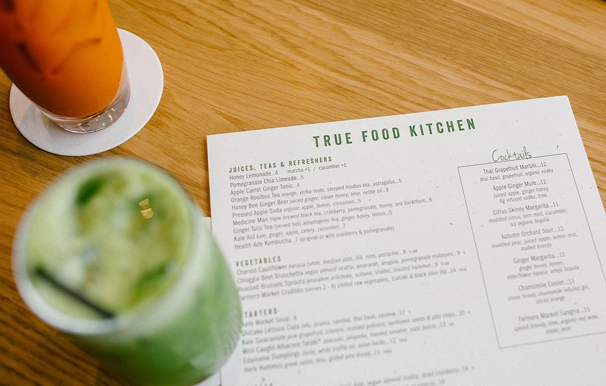 The menu at True Food Kitchen features a full offering of vegan ...
