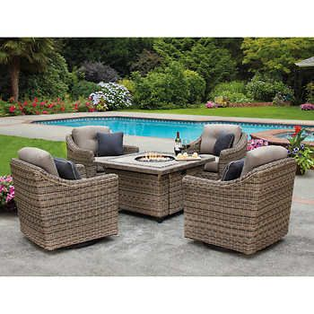 North Hampton 5 Piece Fire Chat Set Brent Outdoor