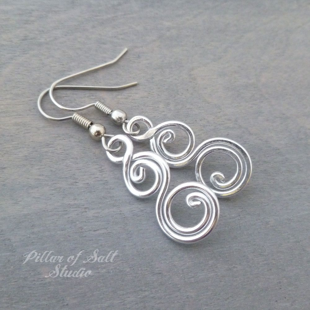 b2c5eb6af Aluminum earrings double spiral curlique | Jewelry | Wire wrapped ...