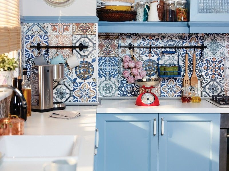 Fliesenspiegel in der Küche - Ideen mit Patchwork Mustern - ideen fliesenspiegel k che