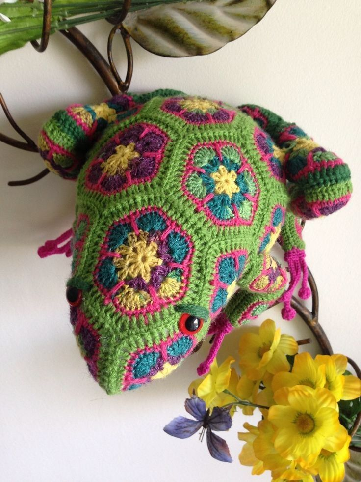 Where To Buy Hand Knitted Crochet African Flower Pattern Frog