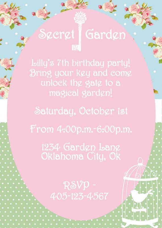Secret Garden Party Invitation Girls Shabby Chic PRINTABLE