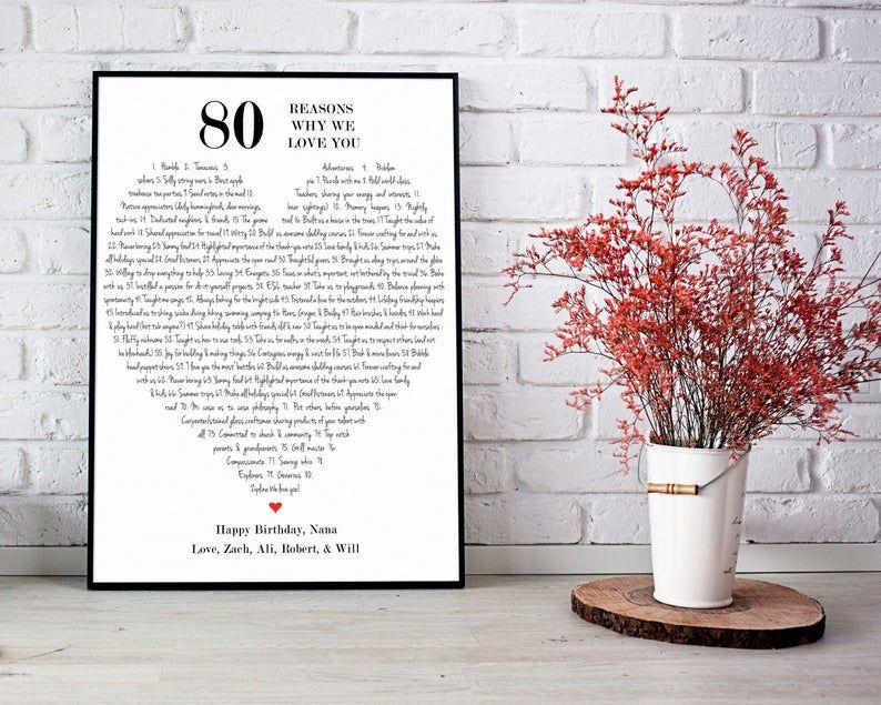 80th Birthday Gift For Grandma, 80 Reasons Why We Love You