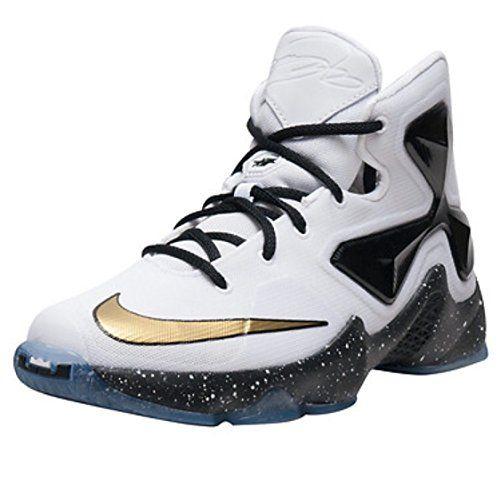 newest 03b40 ed6ce Nike Lebron XIII GS Boys White Metallic Gold-Black Basketball Shoe White Metallic  Gold-Black 7 M US Big Kid