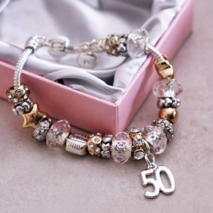 5e0cd0d8d 50th Birthday Charm Bracelet. A beautiful gift for a woman turning 50, with  a stunning gift box to go with it.