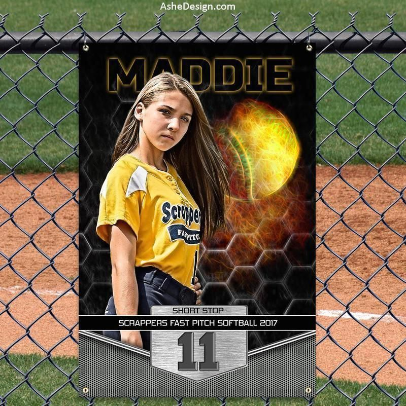 Amped Sports Banner 2'x3' Great Balls of Fire Softball