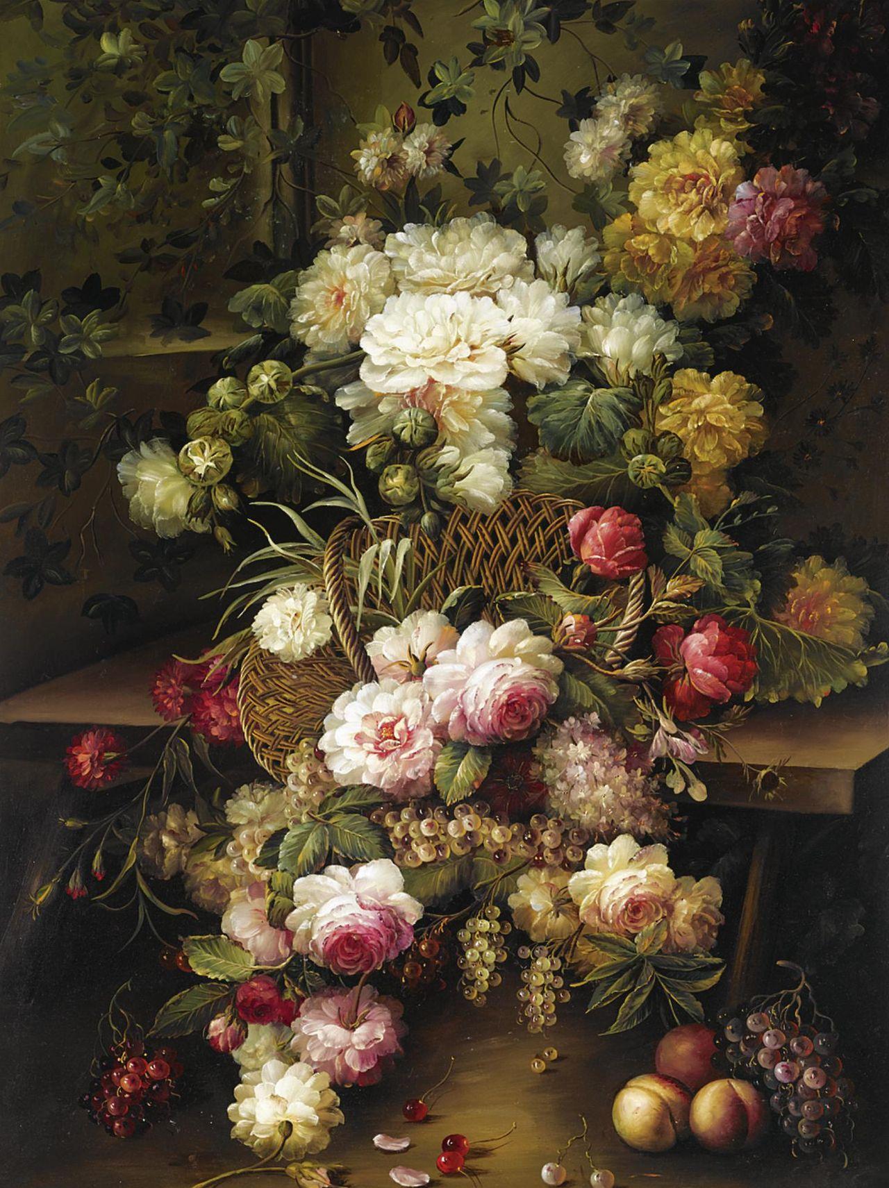 still life...roses...fruit...spilling out of basket