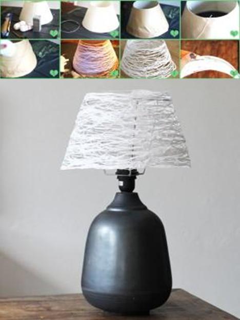 como hacer una pantalla de lampara con cordon lamparas Pinterest