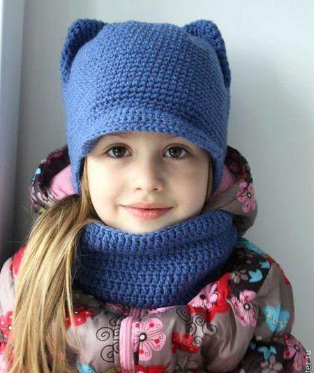 Вязаные шапки для девочек (91 фото)  для подростков 12-14 лет и  новорожденной девочки с ушками 0650e27258f99