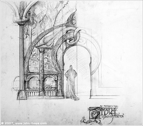 The Art of Alan Lee and John Howe : Sketch for the front of ...