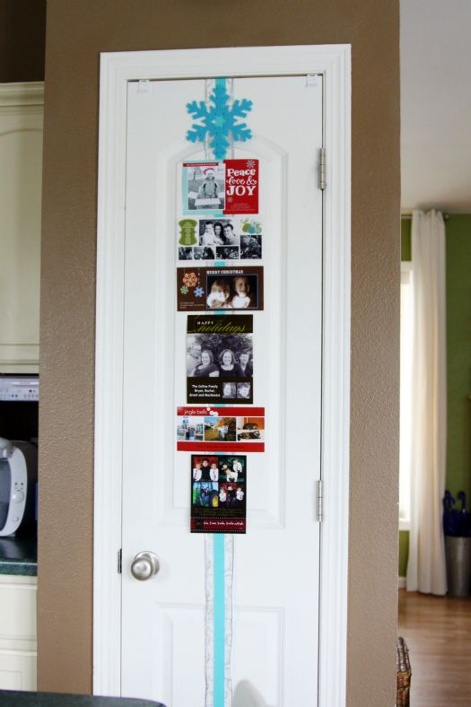 Cute And Easy Way To Display Christmas Cards Ribbon On Your Pantry Door