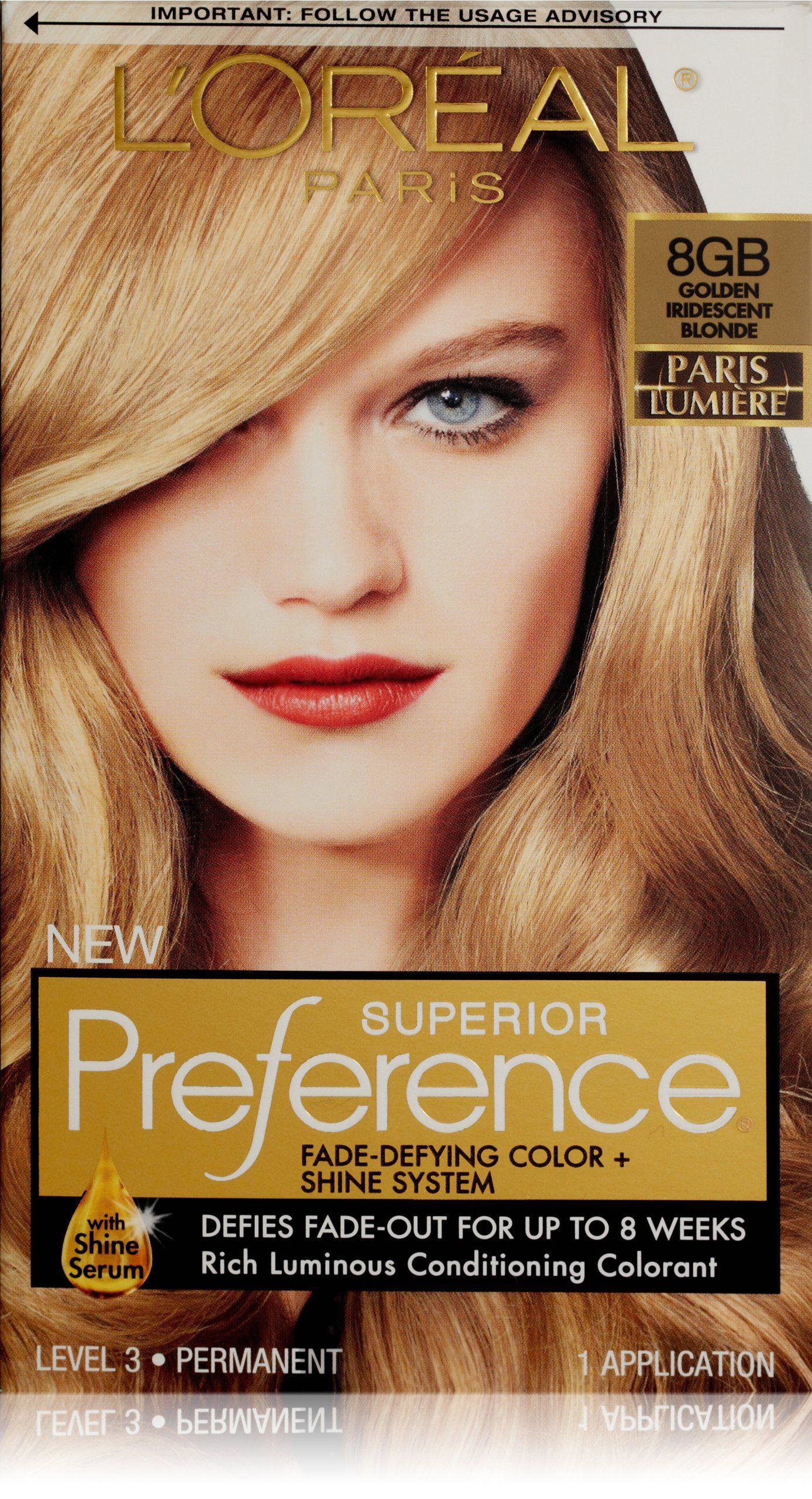 L Oreal Paris Superior Preference Hair Color 8gb Golden Iridescent Blonde The Paris Lumiere Collection By Superior Prefer Hair Color Hair Color Shades Loreal