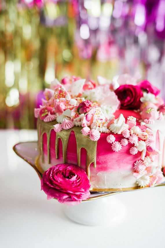 Hot pink + gold cake   100 layer cake   cake designs in ...