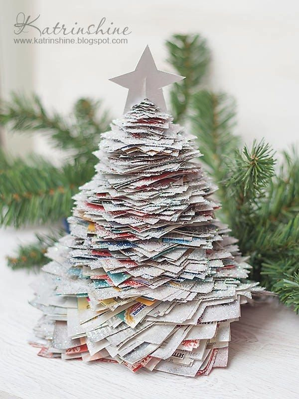 Deck The Halls And Learn How To Make Your Own Faux Christmas Trees Coupons Com Recycled Christmas Tree Paper Christmas Tree Diy Christmas Tree