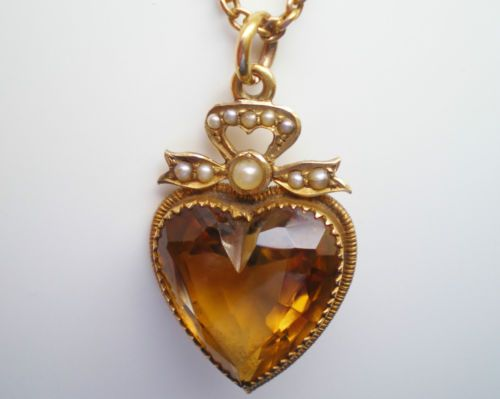 Victorian 15ct gold cairngorm citrine heart pendant chain necklace victorian 15ct gold cairngorm citrine heart pendant chain necklace c1885 mozeypictures Image collections