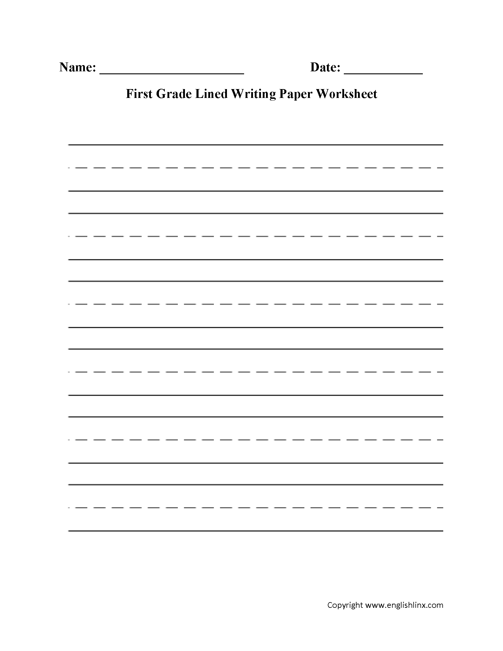 First Grade Lined Writing Paper Worksheet