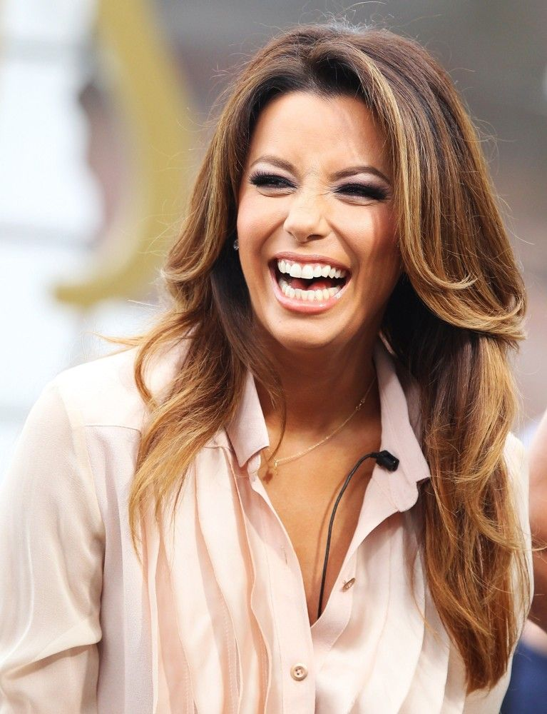 Eva Longoria\u0027s Long Balayage Layers hair celebrity