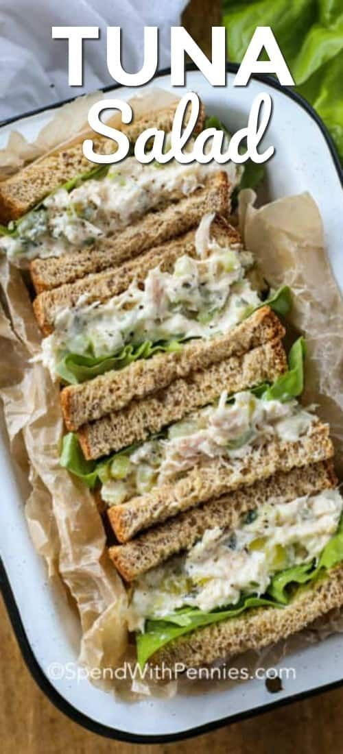 This fresh and easy tuna salad sandwich recipe is one of our go to lunch recipes. It's so easy and makes a great kid friendly lunch! #spendwithpennies #tuna #tunasalad #tunasaladsandwiches #sandwiches #easytunasalad