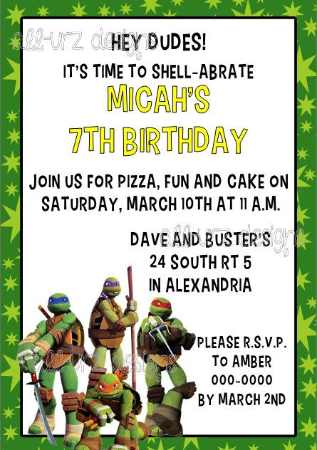 Ninja Turtle Invitation Wording Amazing Invitation Template