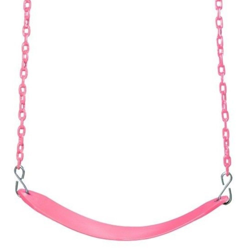 Pink Swing Seat Kids Outdoor Swing Set Accessories Coated Hang Chain