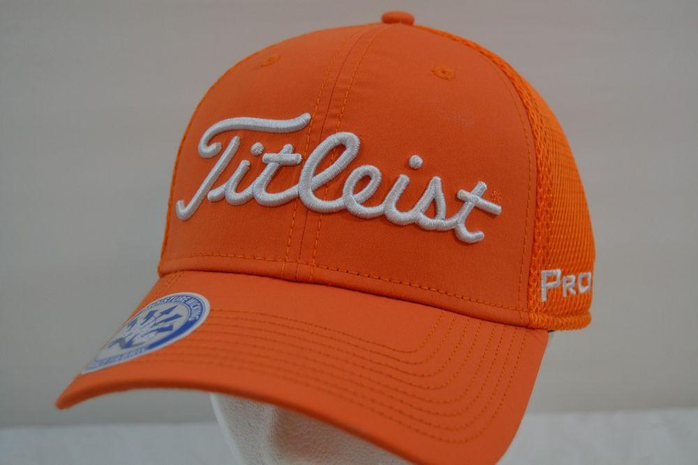 f66d38fcf51 Titleist Golf Sport Mesh Orange White Baseball Cap NWT Flex Fit M L   TitleistbyNewEra  BaseballCap