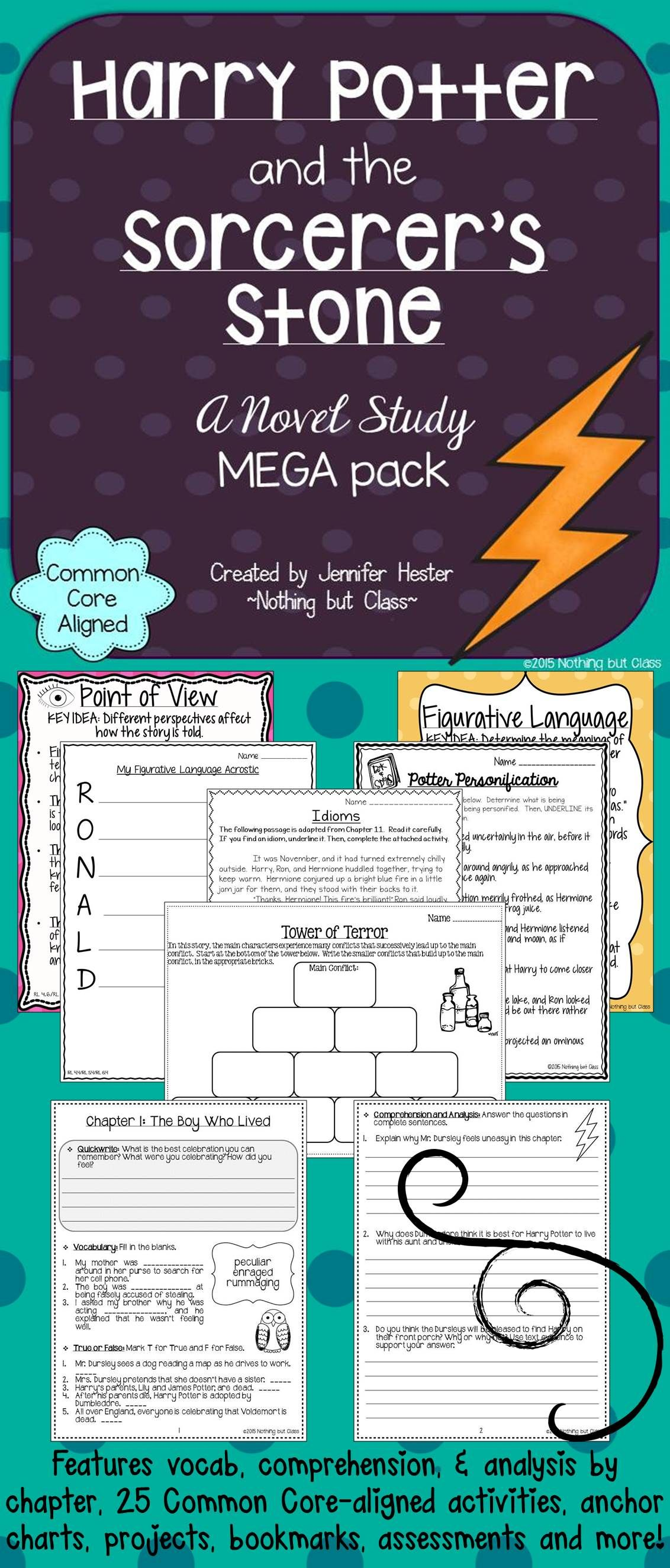 harry potter creative writing printables a focus on harry potter and the sorcerer s stone novel study unit mega pack