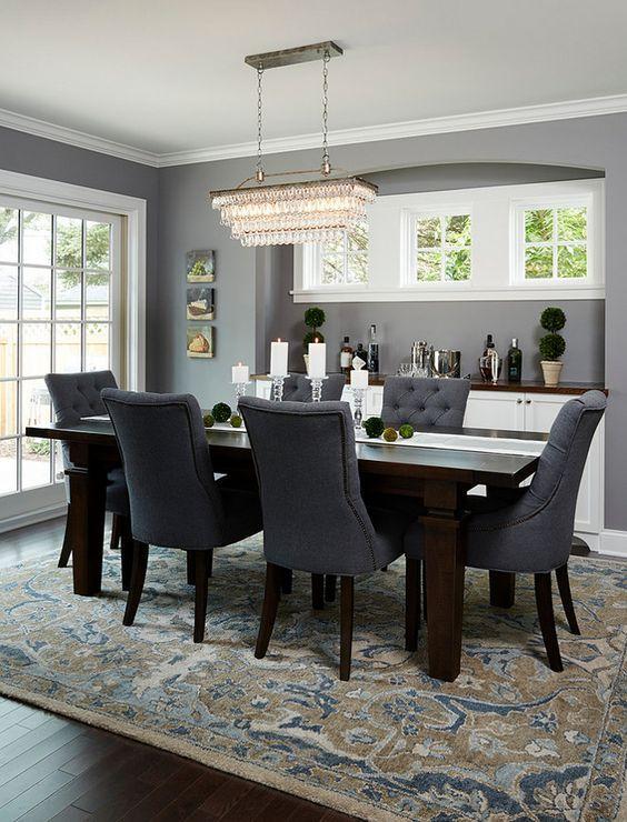 Deep Silver Dark Wood Dining Table Dark Wood Dining Room Grey