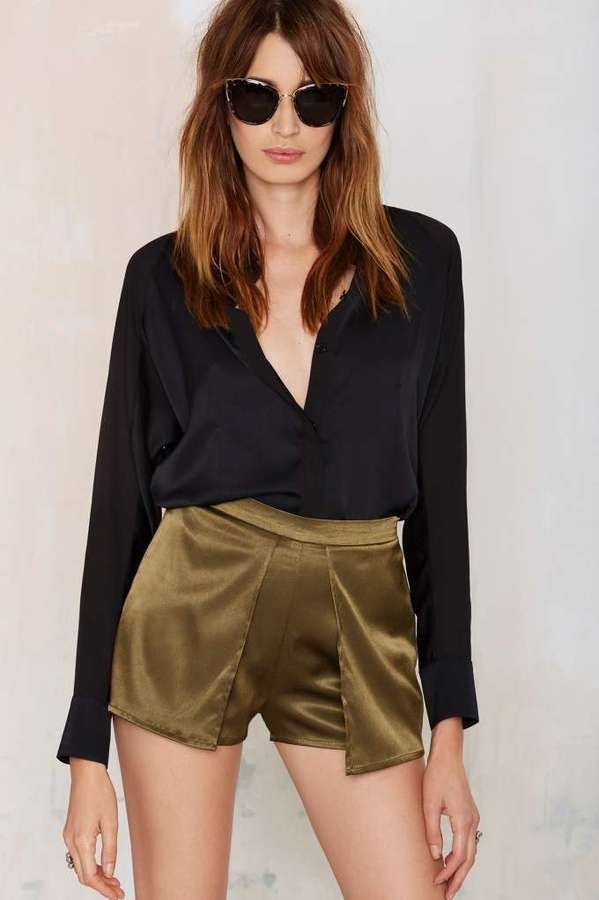 Nasty Gal Factory Like Mad Layered Shorts - Olive   $58.00   Available Sizes: S,M,L   #Chic Only #Glamour Always