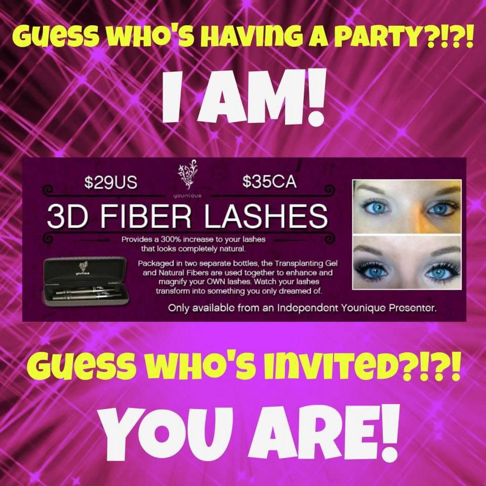 I'm hosting a party on my website! Go check it out and place an order! Get your 3D fiber lash mascara today! Or any of our other amazing products! Www.youniqueproducts.com/jessicathompson09