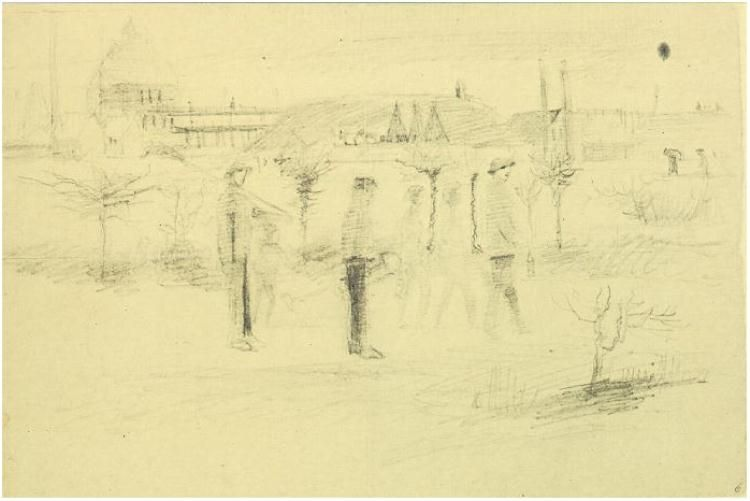 Vincent van Gogh Miners in the Snow at Dawn Letter Sketches