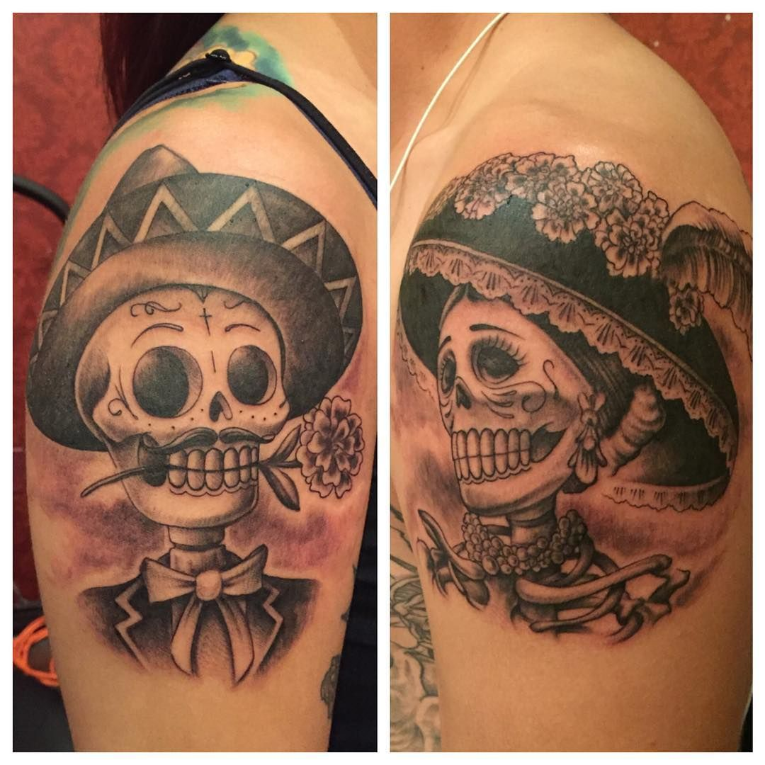 """A super fun day of the dead couple, for a super fun couple from Chicago! I really am blessed to have such great customers. Enjoy. Thanks for looking!!!…"""