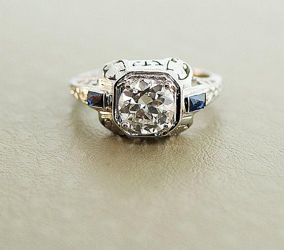 Antique Art Deco 18k White Gold European Cut Diamond & Sapphire Filigree Ring
