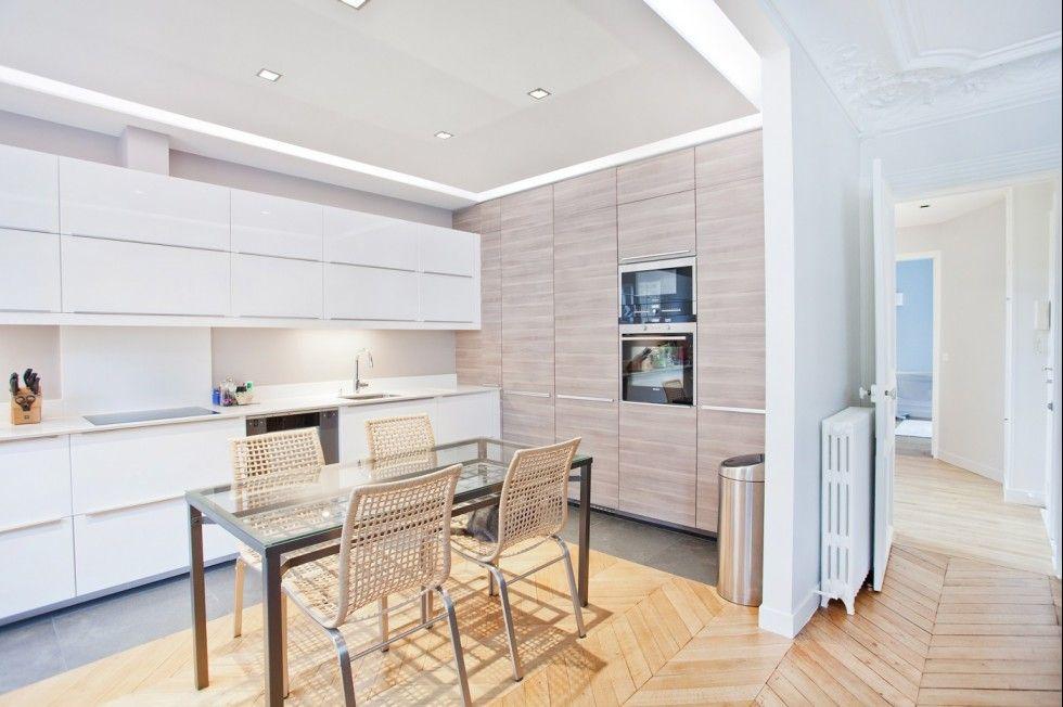 Mur placards / raccord parquet carrelage   Appartement paris, Appartement et Carrelage cuisine