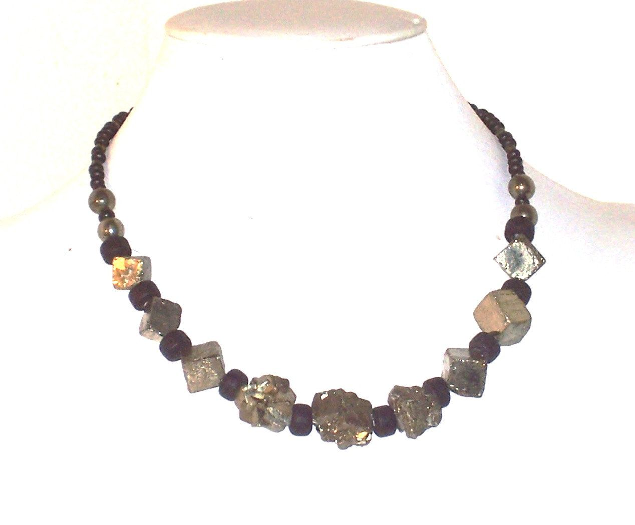 Pyrite nugget necklace with black glass crow beads from amigami