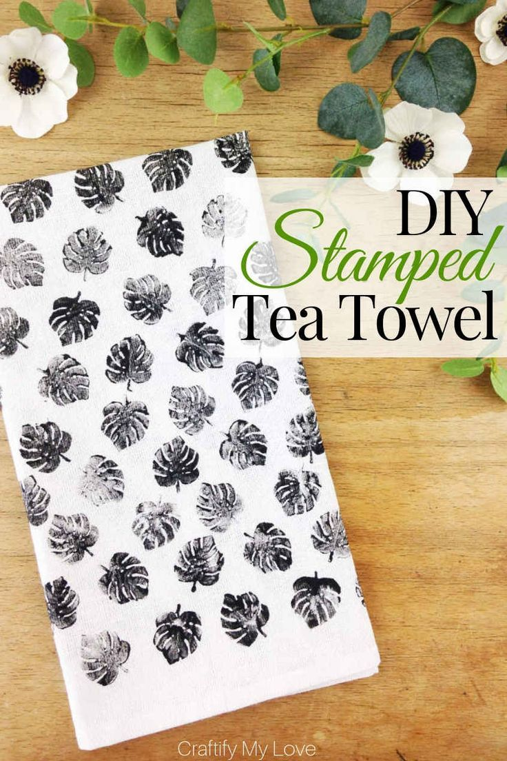 DIY Handstamped Tea Towel #dishtowels