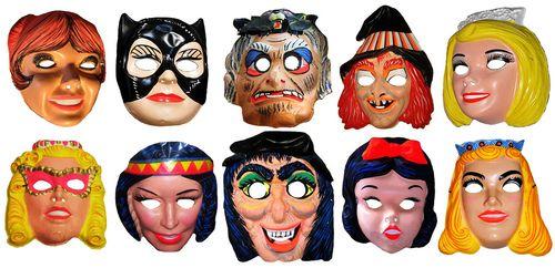 Vintage 1980s Plastic Old Hag Witch Mask