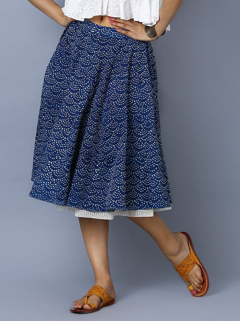 Indigo chanderi hand block printed kali skirt the loom western