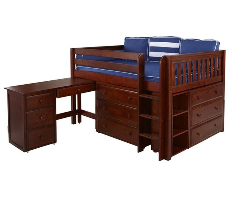 LARGE4L Full Size Low Loft Bed With Desk Chestnut By Maxtrix Kids Furniture