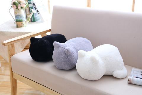 Plain Cute Cat Plush Cushion Pillow Animal Toys Kids / Living Room Decor