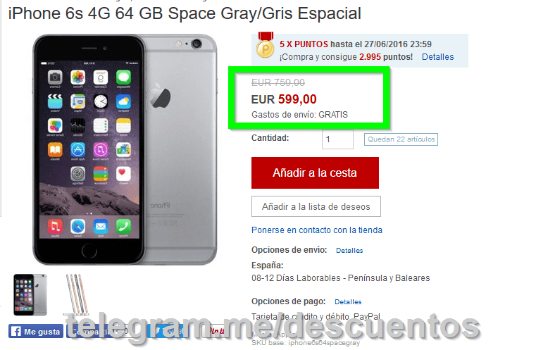 iPhone 6S 64GB por solo 599 - http://ift.tt/292YPOi