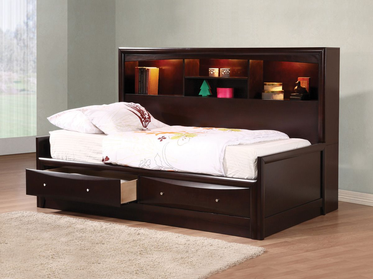 Cappuccino Finish Youth Bed Frame with Storage • Caravana