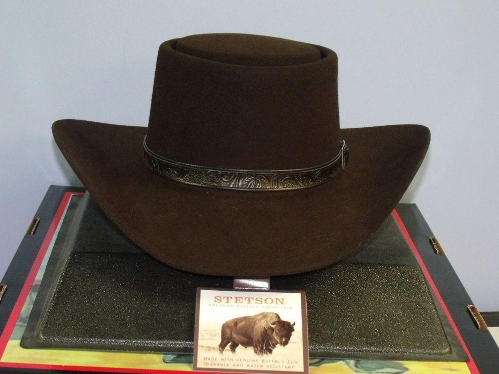 b6a2e2c56 STETSON REVENGER 4X BUFFALO FELT GAMBLER COWBOY WESTERN HAT  Stetson   CowboyWestern