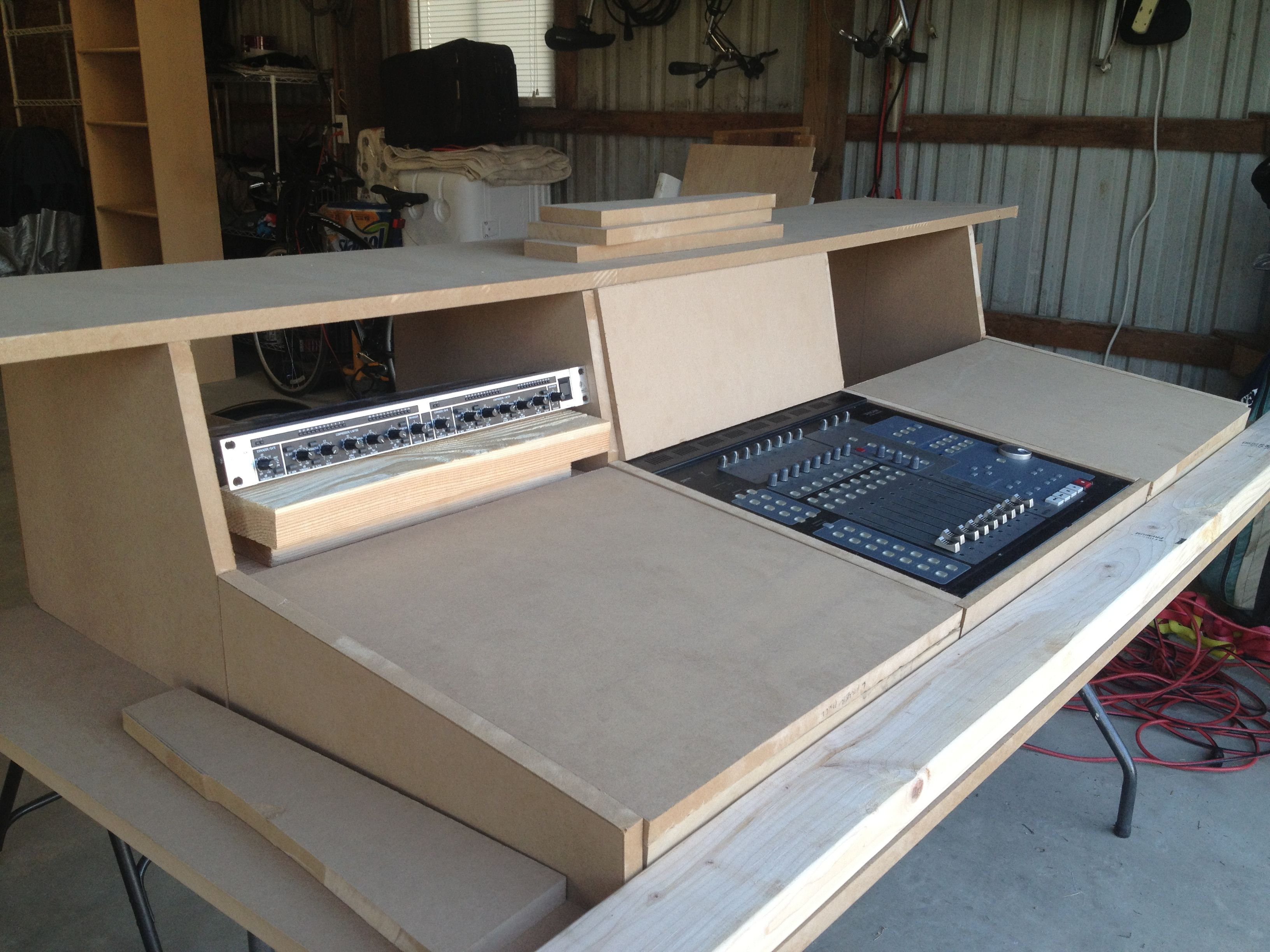 My Diy Studio Console Finished Recording Studio Desk Home Studio Desk Home Studio Setup