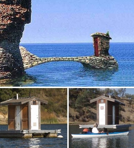 Floating outhouses.